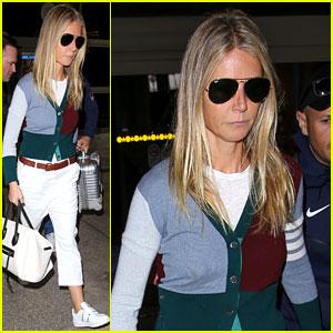 Gwyneth Paltrow Wears a Colorful Cardigan for Flight Home