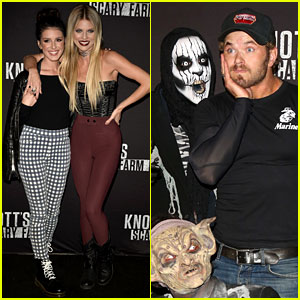 Kellan Lutz & AnnaLynne McCord Check Out the Thrills at Knott's Scary Farm!