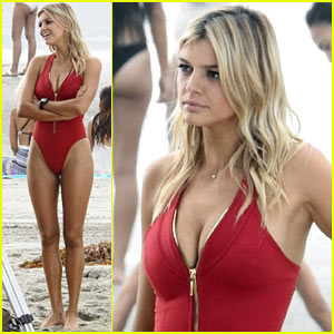 Kelly Rohrbach Rocks a Red One-Piece for 'Baywatch' Reshoots!