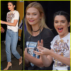 Kendall Jenner & Karlie Kloss Sit Courtside While Cheering On Lakers' Jordan Clarkson