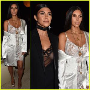 Kim & Kourtney Kardashian Support Sister Kendall Jenner at Givenchy Paris Show