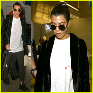 Kourtney Kardashian Arrives Home from Paris with Lots of Security (Video)