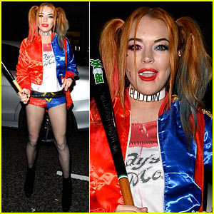 Lindsay Lohan Channels Harley Quinn for Halloween 2016!