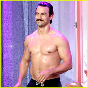 Milo Ventimiglia Goes Shirtless for Splash Tank Game on 'Ellen'