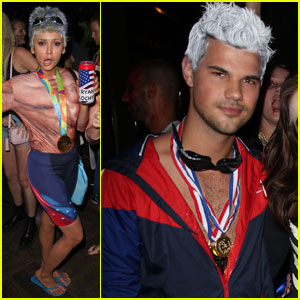 Nina Dobrev & Taylor Lautner Both Dress as Ryan Lochte for Matthew Morrison's Halloween Party!