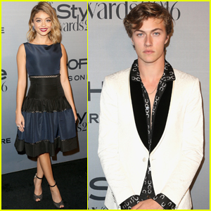 Sarah Hyland & Lucky Blue Smith Step Out at InStyle Awards
