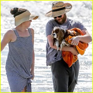 Seth Rogen & Wife Lauren Miller Take Their Dog for a Dip in the Ocean