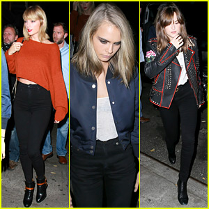 Taylor Swift Grabs Dinner with Dakota Johnson & Cara Delevingne!