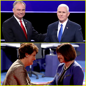 Tim Kaine & Mike Pence's Wives Shake Hands at VP Debate