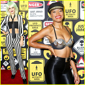 Victoria Justice Dresses as Beetlejuice, Keke Palmer Turns Into Selena at Just Jared's Halloween Party