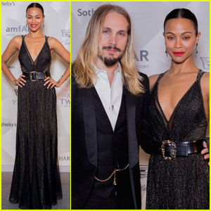 Zoe Saldana Glitters at Dallas Charity Event With Marco Perego