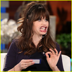 Zooey Deschanel Tries Talking to Ellen with Dental Device in Her Mouth ...