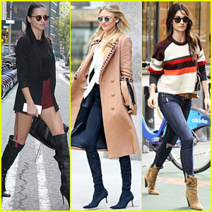 Adriana Lima, Martha Hunt, & Lily Aldridge Step Out for Victoria's Secret Fittings