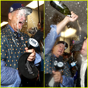 Bill Murray Celebrates Cubs World Series Win with Lots of Champagne!