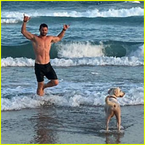 VIDEO: Chris Hemsworth Goes for Shirtless Beach Run, Gets Attacked by 'Wild Dog!'