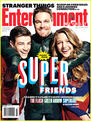 Grant Gustin, Stephen Amell, & Melissa Benoist Suit Up for 'EW' Cover!