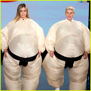 VIDEO: Jennifer Aniston & Ellen DeGeneres Dance in Sumo Suits for Funny Game!