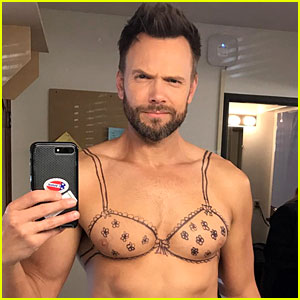 Joel McHale Goes Shirtless with Drawn on Bra for 'I Voted' Selfie