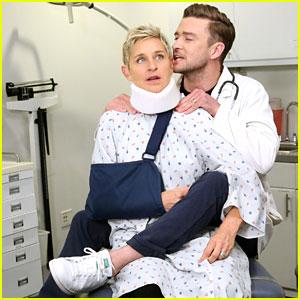 VIDEO: Justin Timberlake Straddles Ellen DeGeneres in 'Doctor Strange' Spoof!