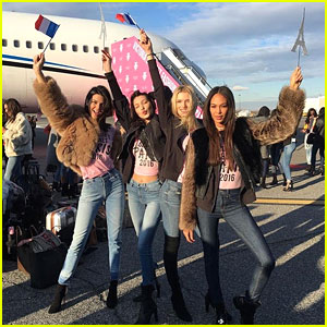 Kendall Jenner, Bella Hadid, & More Victoria's Secret Models Jet Off To Paris!