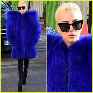 Lady Gaga Wears Statement Blue Coat in Paris