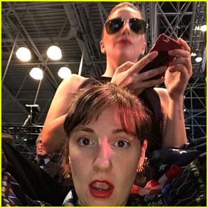 Lady Gaga & Lena Dunham Team Up at Hillary Clinton Headquarters on Election Night