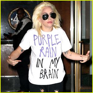Lady Gaga Wears 'Purple Rain In My Brain' Shirt After Election