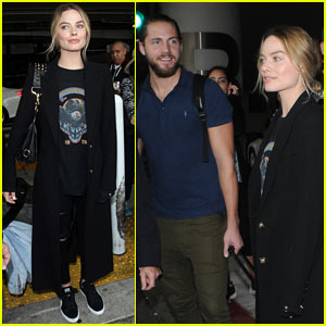 Margot Robbie & Boyfriend Tom Ackerley Arrive at LAX Airport