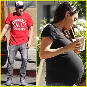 Mila Kunis Takes Her Growing Baby Bump to Jamba Juice With Ashton Kutcher