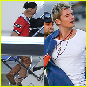 Katy Perry & Orlando Bloom Catch a Flight Together
