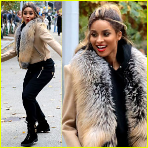 Pregnant Ciara Films a Christmas Project in New York City