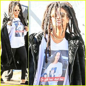Rihanna Wears Photo of Herself Wearing Hillary Clinton Shirt!