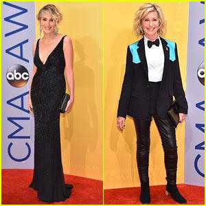 Sharon Stone & Olivia Newton-John Go Rocker Chic for CMA Awards 2016!