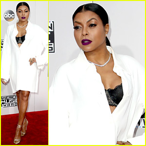 Taraji P. Henson Wears Simple White Shirt on AMAs Red Carpet