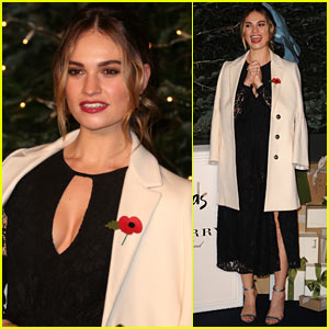 Lily James Unveils Harrods & Burberry's 'A Very British Fairy Tale' Window Displays in London!
