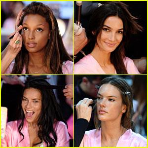 Victoria's Secret Models Get Makeup Done for Fashion Show 2016