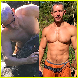 Anderson Cooper Goes Shirtless with Partner Benjamin Maisani to Wash Elephants in Myanmar