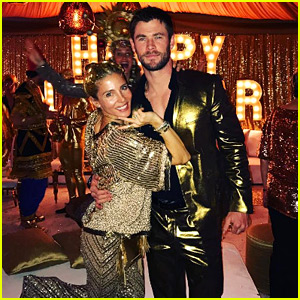 Chris Hemsworth Wears a Gold Suit on New Year's Eve 2017 with Wife Elsa Pataky!