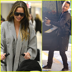 Chrissy Teigen & John Legend Arrive in Miami with Baby Luna
