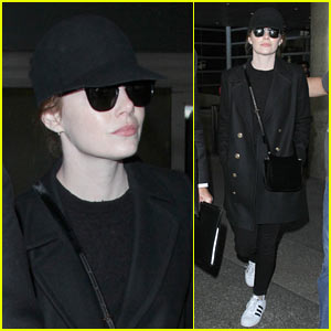 Emma Stone Keeps a Low Profile While Arriving at LAX