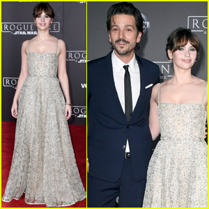 Felicity Jones & Diego Luna Step Out at 'Rogue One' Premiere