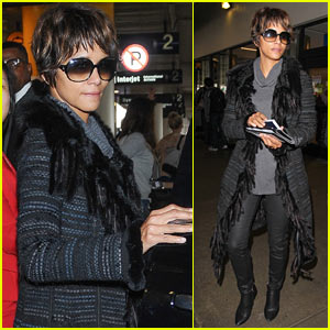 Halle Berry Returns to LA After Filming 'Kingsman' in London