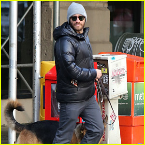 Jake Gyllenhaal Takes His Dog Atticus for a Christmas Eve Walk