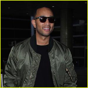 John Legend is All Smiles Landing Back in LA