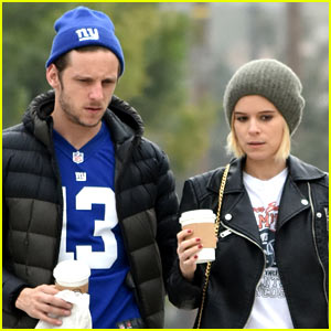 Kate Mara & Jamie Bell Take Their Dogs for a Stroll