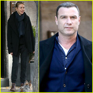 Liev Schreiber Visits Ex Naomi Watts & Their Kids at Her Apartment