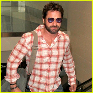 Newly Single Gerard Butler Catches a Solo Flight Out of LAX