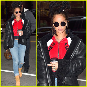 a096aa3e10 Rihanna Kills the Style Game While Arriving on  Ocean s Eight  Set