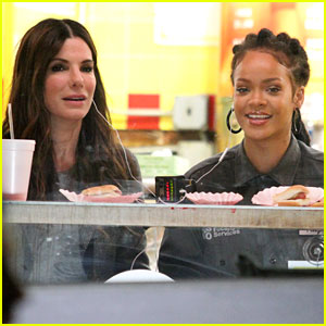 Rihanna & Sandra Bullock Chow Down on Hot Dogs for 'Ocean's Eight' Scene!