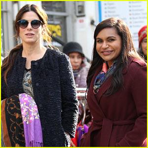 Sandra Bullock & Mindy Kaling Stylishly Film 'Ocean's Eight' in Queens